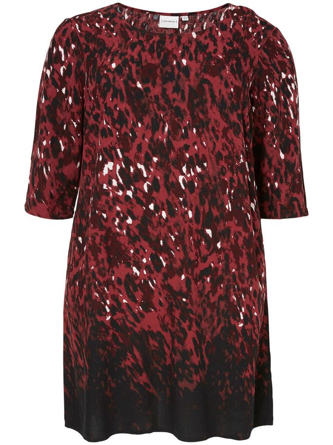 3/4 SLEEVED DRESS, Maroon, large
