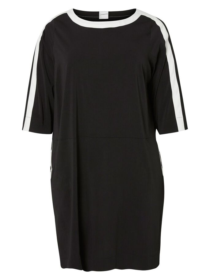 3/4 SLEEVED DRESS, Black, large