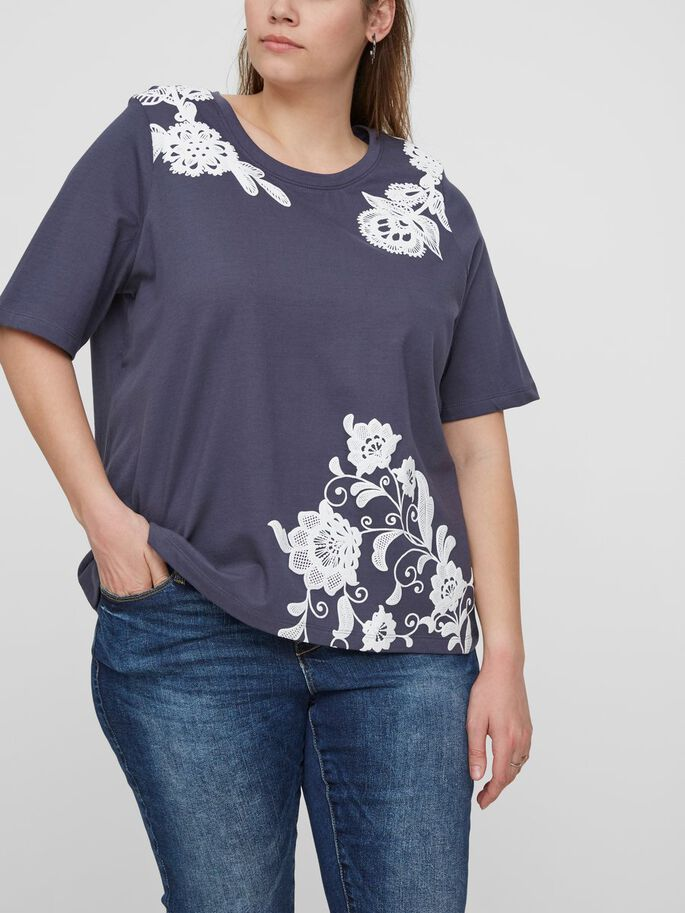 FLOWER DETAILED 2/4 SLEEVED BLOUSE, Ombre Blue, large