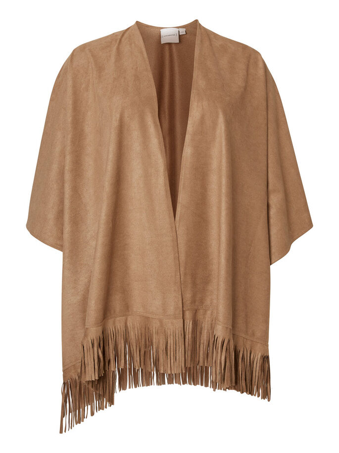 SUEDE LOOK PONCHO, Tobacco Brown, large