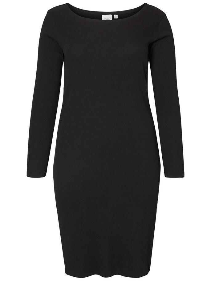 RIB DRESS, Black, large