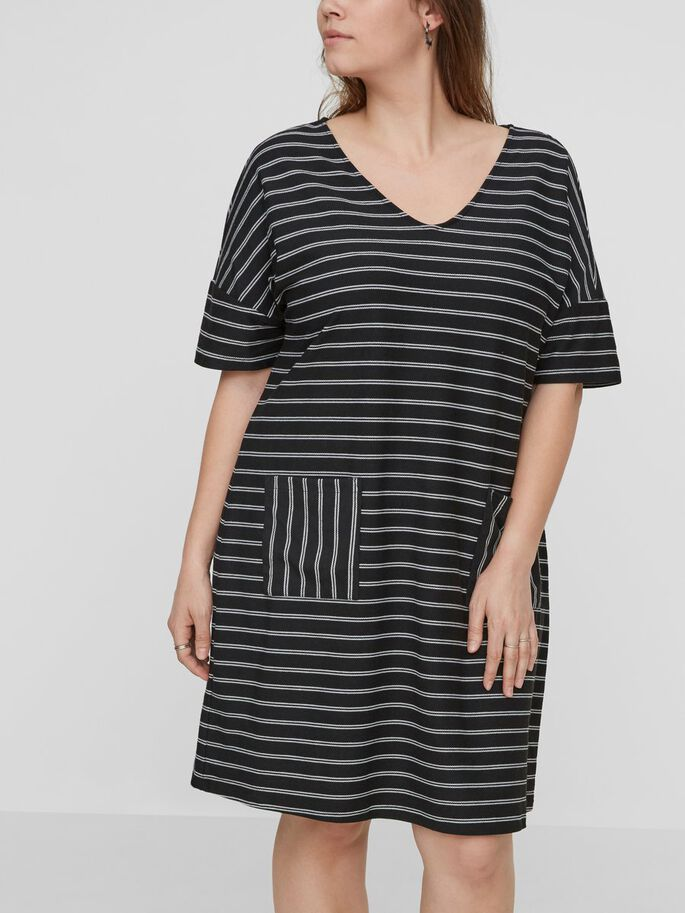 STRIPED DRESS, Black Beauty, large