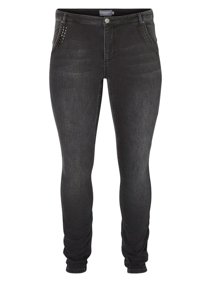JRFOUR, NORMAL WAIST, SLIM JEANS, Dark Grey Denim, large