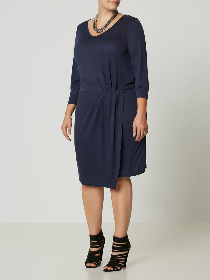 3/4 SLEEVED DRESS, Black Iris, large