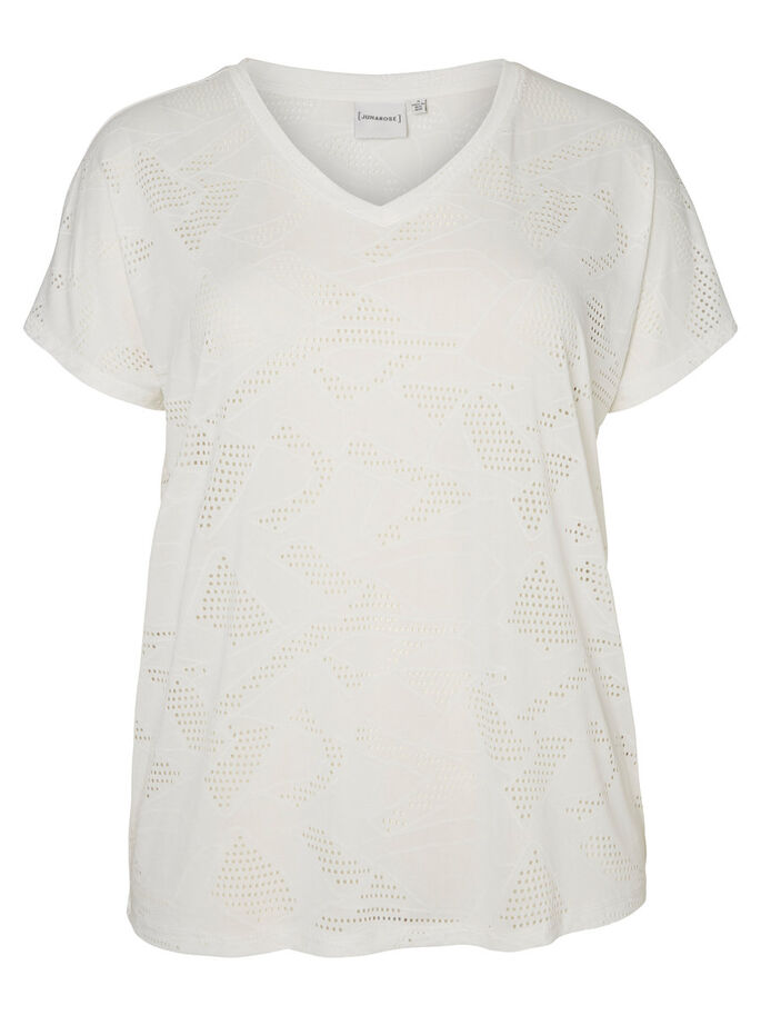 JERSEY SHORT SLEEVED BLOUSE, Bright White, large