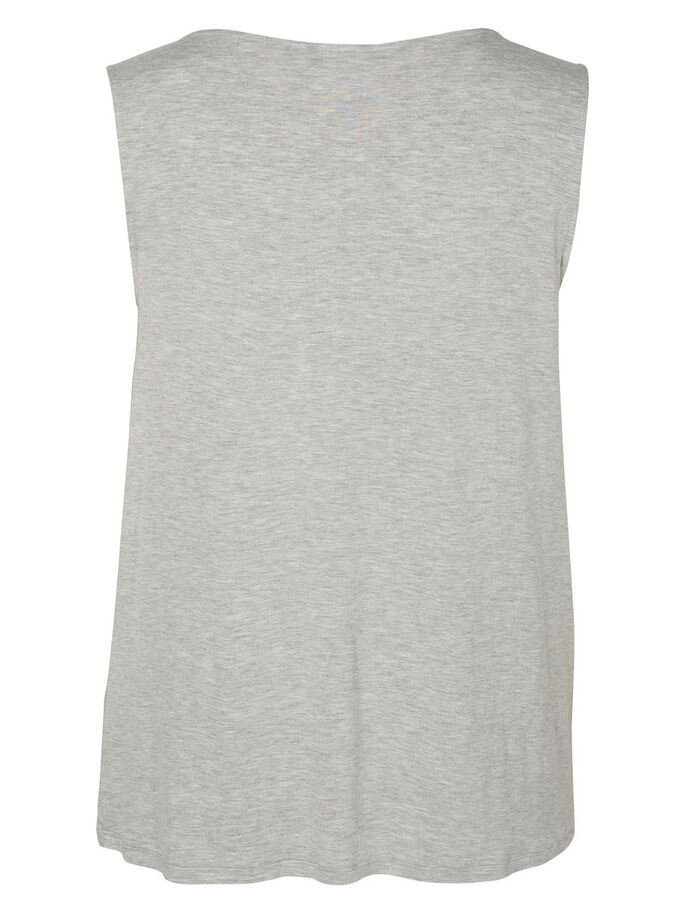 WATERFALL SLEEVELESS TOP, Light Grey Melange, large