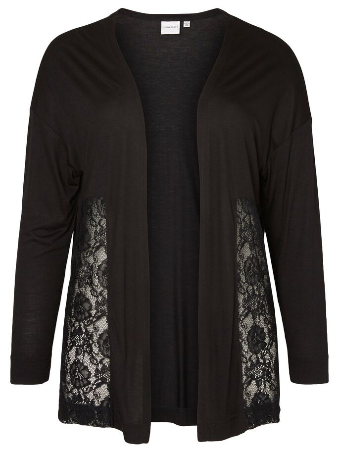 LACE CARDIGAN, Black, large