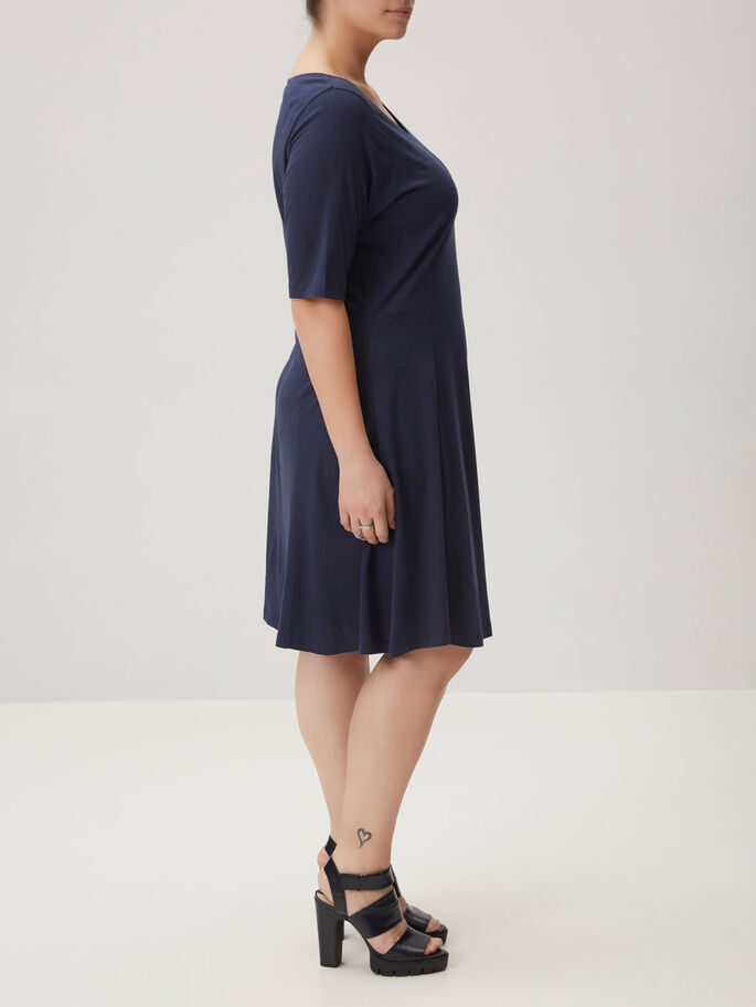 2/4 SLEEVE DRESS, Black Iris, large