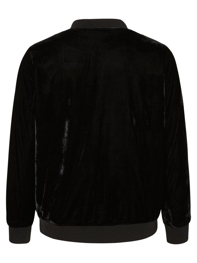 VELOURS BOMBER VESTE, Black, large