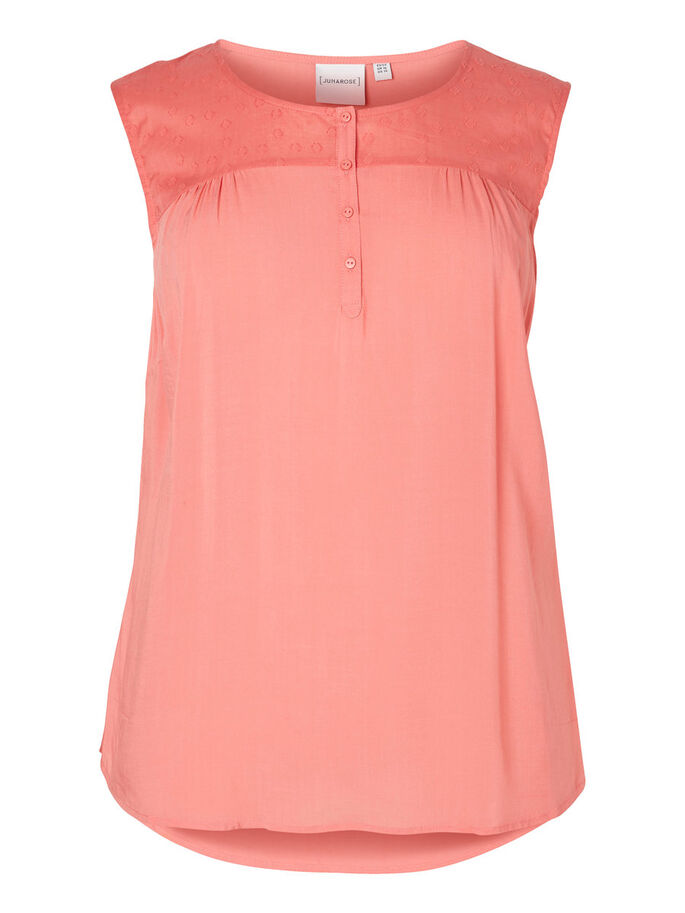 GEWEVEN MOUWLOZE TOP, Tea Rose, large