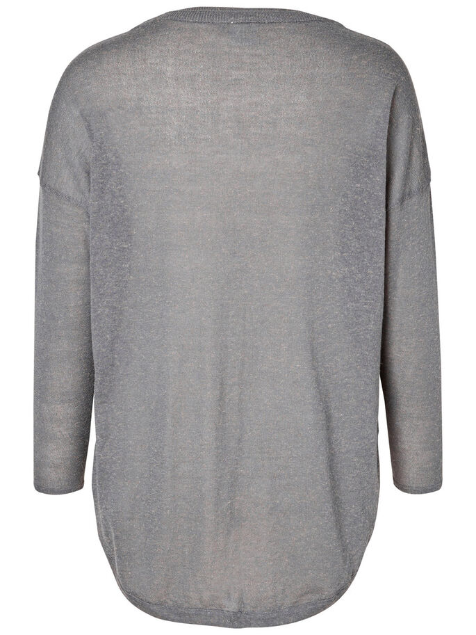 KNITTED PULLOVER, Medium Grey Melange, large