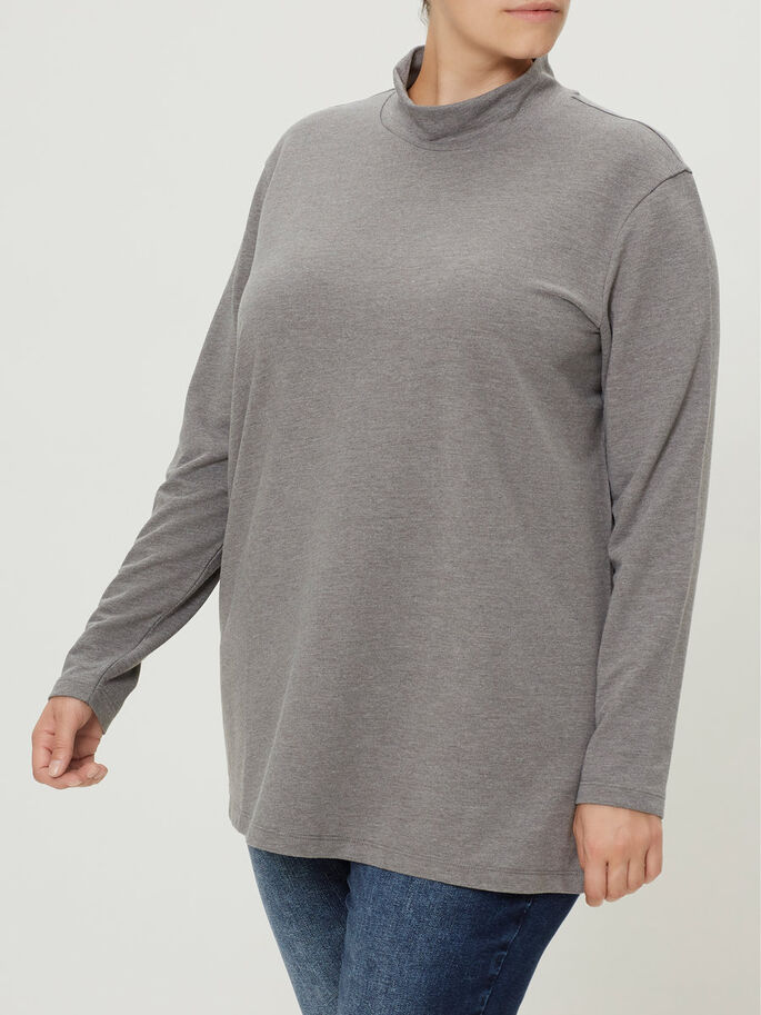 LONG SLEEVED BLOUSE, Medium Grey Melange, large