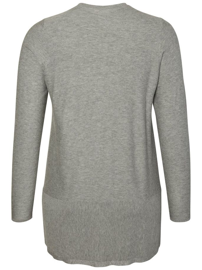 LANGÆRMET CARDIGAN, Medium Grey Melange, large