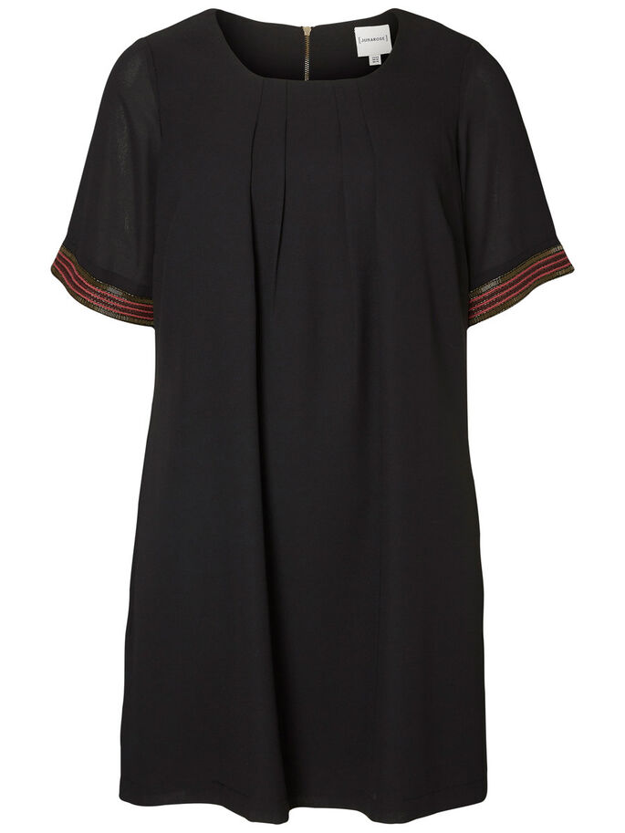 2/4 SLEEVED DRESS, Black, large