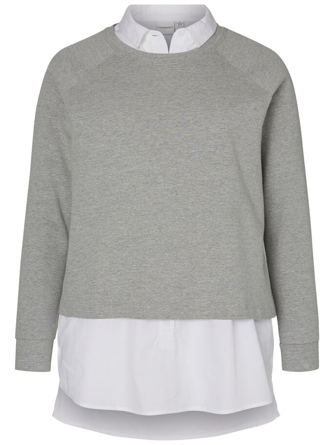 LANGE MOUW SWEATSHIRT, Medium Grey Melange, large