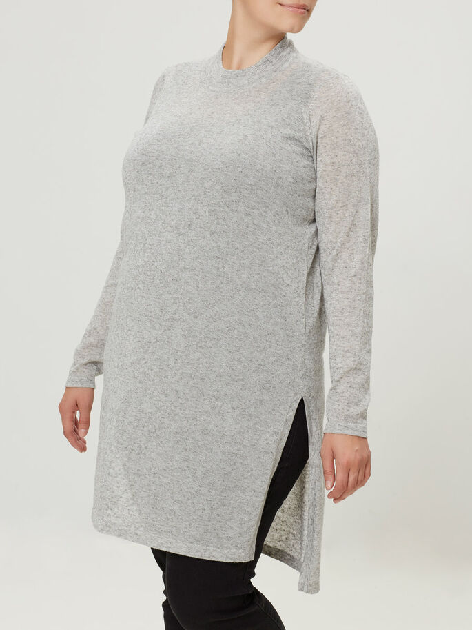STRIKKET PULLOVER, Light Grey Melange, large