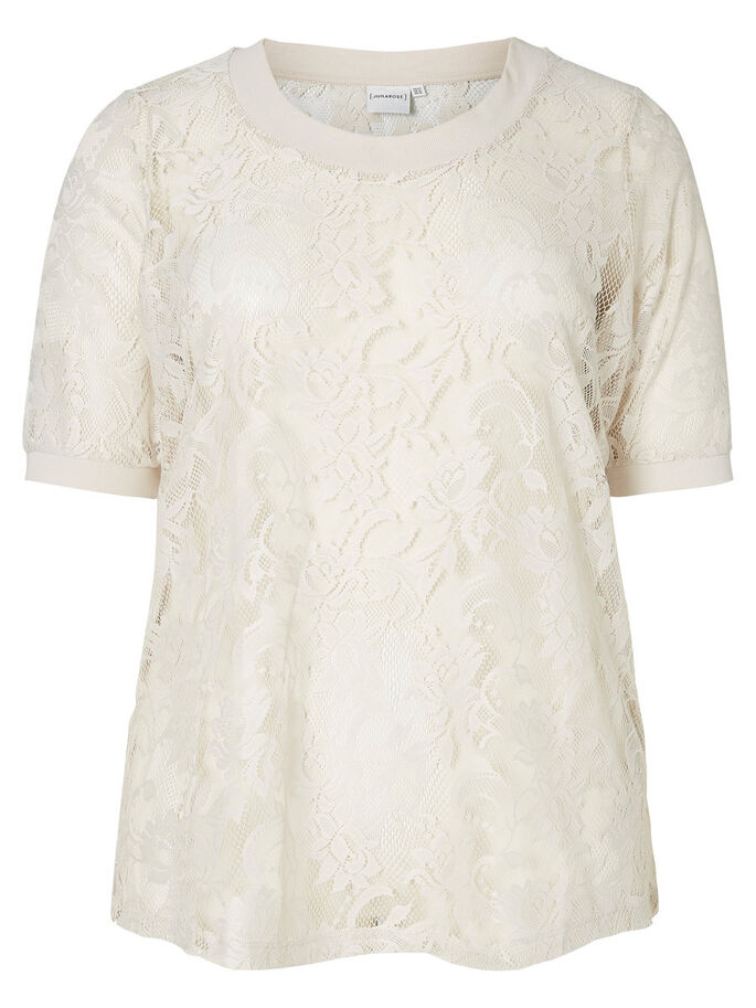 LACE T-SHIRT, Moonbeam, large