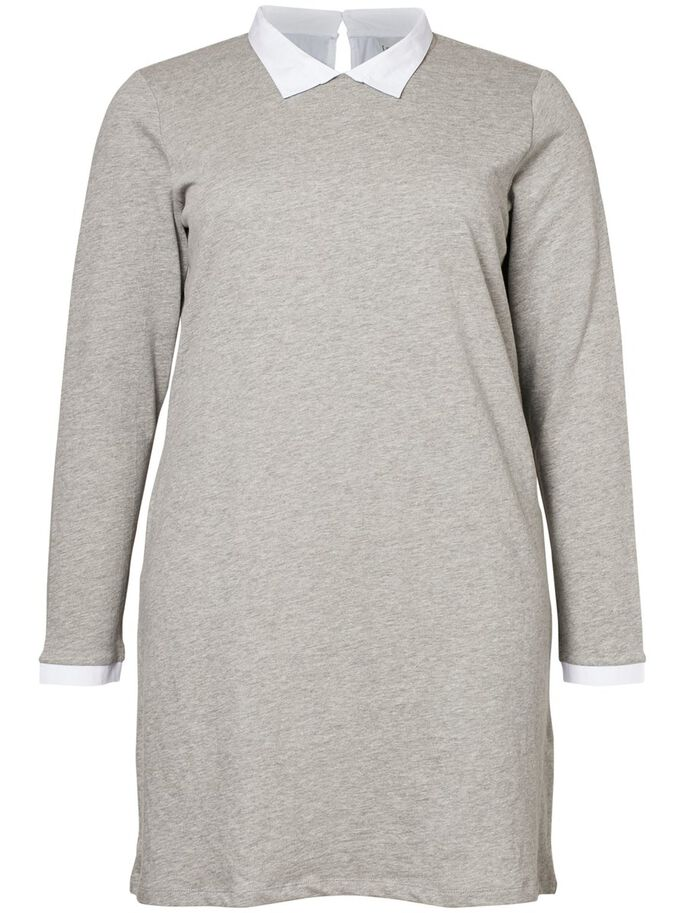 LANGÆRMET KJOLE, Medium Grey Melange, large