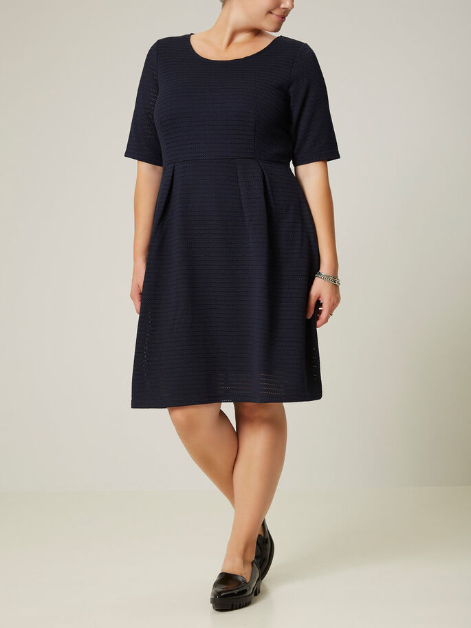 2/4 SLEEVED DRESS, Black Iris, large