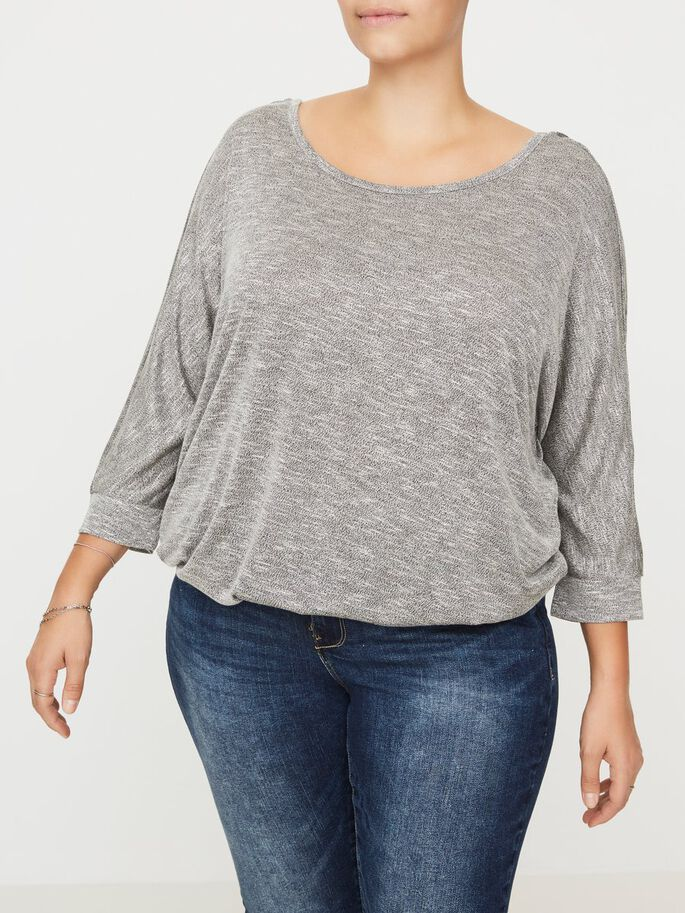 3/4-ÄRMELIGE BLUSE, Light Grey Melange, large