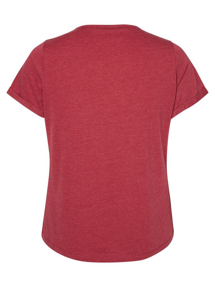 KORTÆRMET BLUSE, Beet Red, large