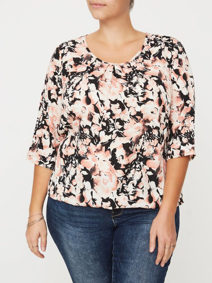 3/4-MOUW BLOUSE, Black, large