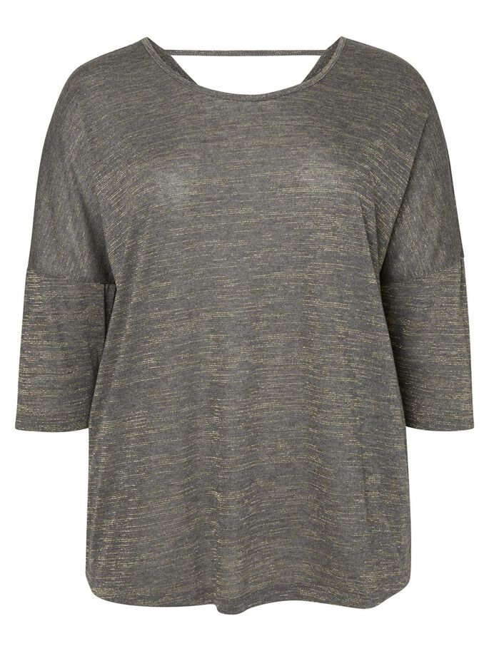 3/4 ÆRMET BLUSE, Dark Grey Melange, large
