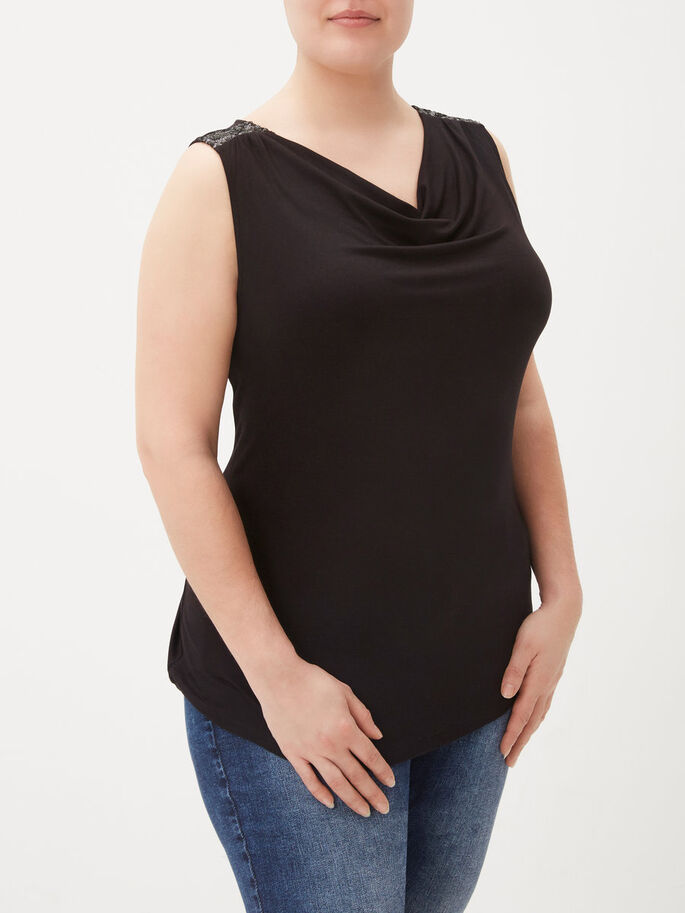 WATERFALL SLEEVELESS TOP, Black, large