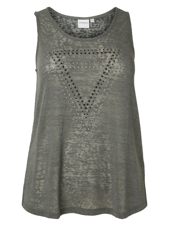 FRONT DETAILED SLEEVELESS TOP, Grey, large