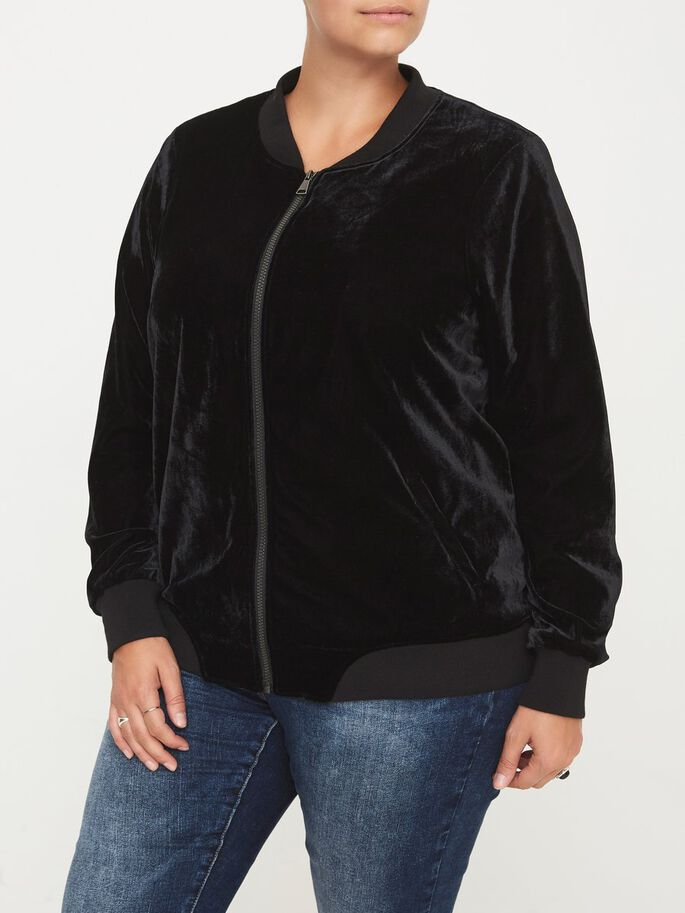 VELVET BOMBER JACKET, Black, large