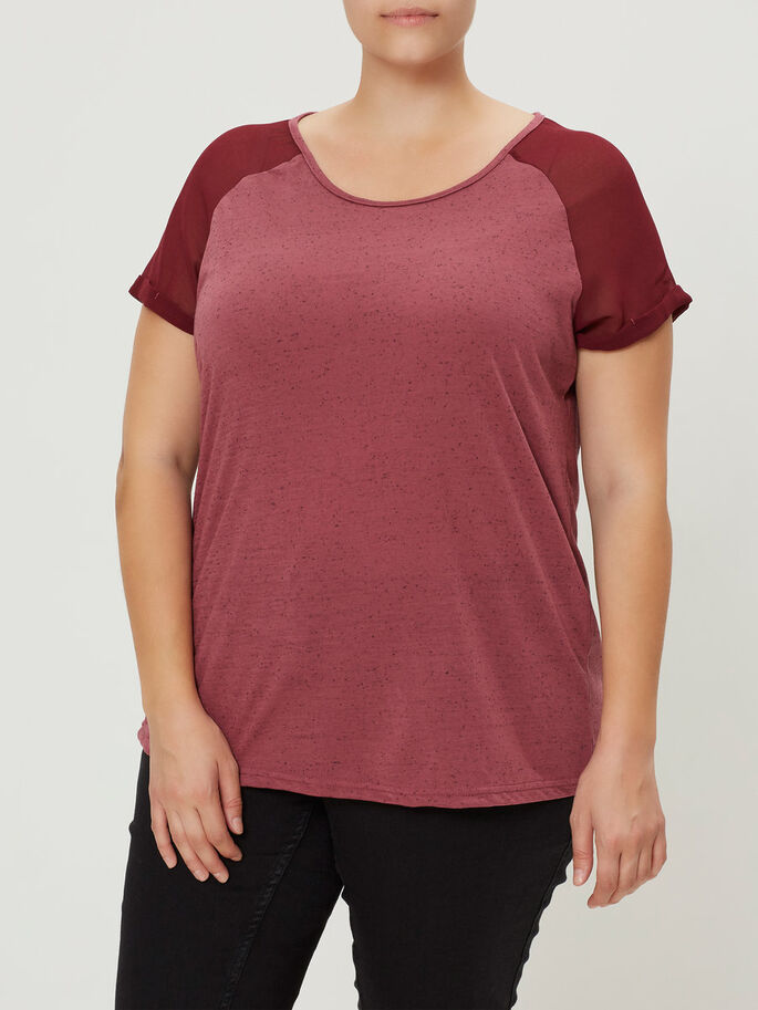 SHORT SLEEVED BLOUSE, Maroon, large