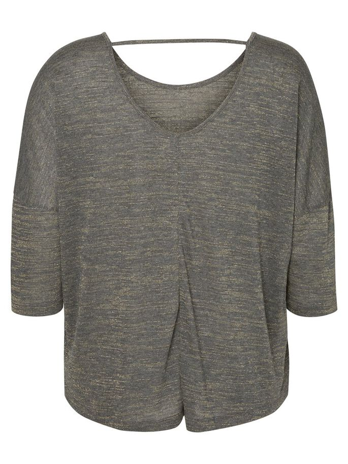 3/4-MOUW BLOUSE, Dark Grey Melange, large