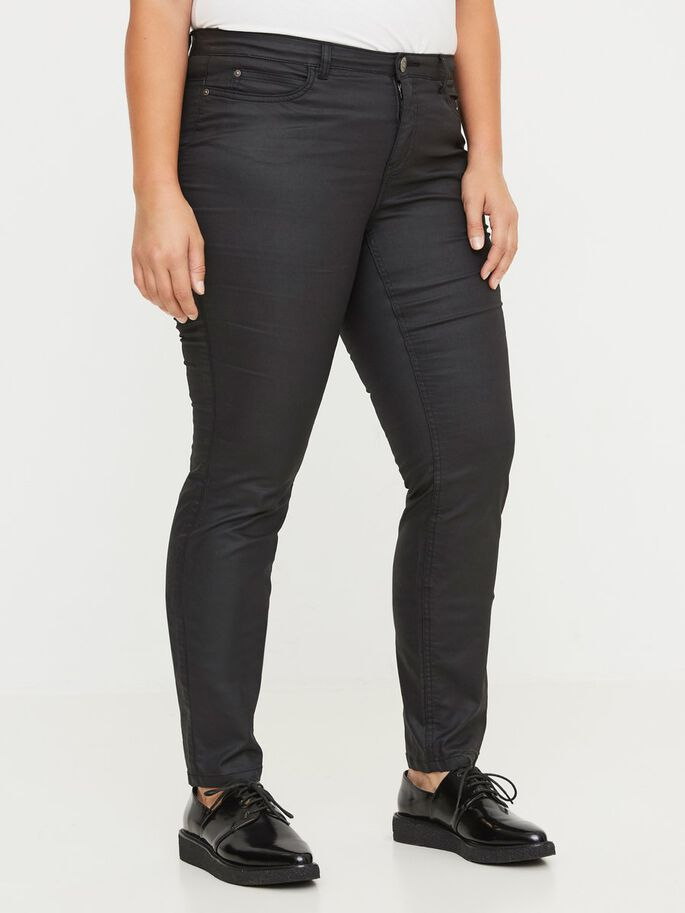 COATED JEANS, Black, large