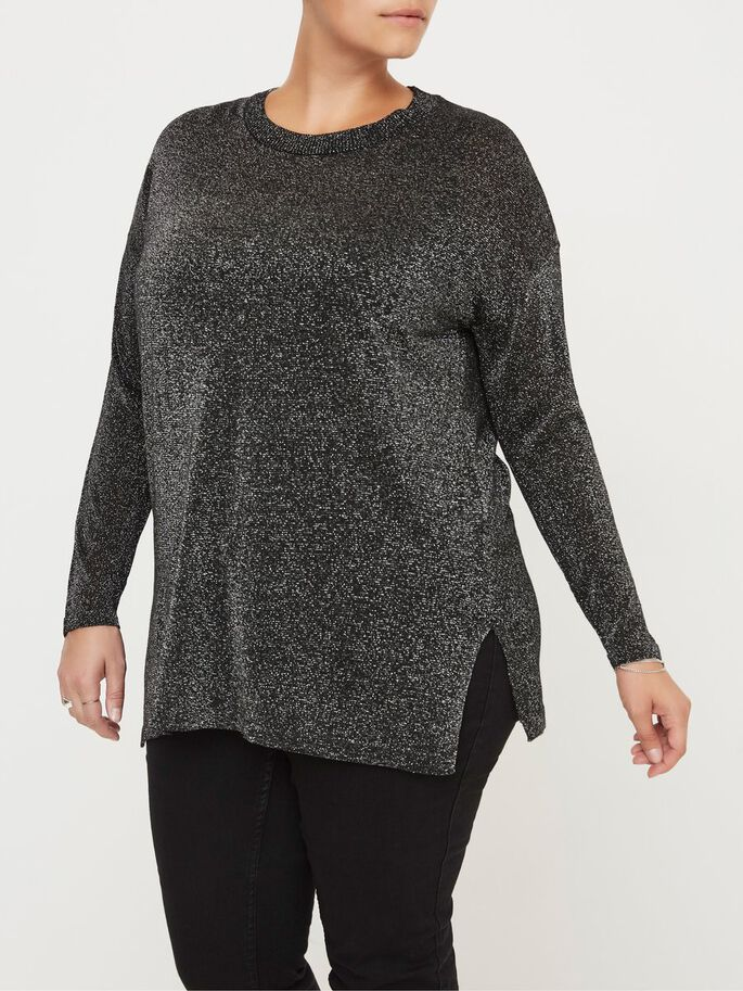 MANCHES LONGUES PULLOVER, Black, large