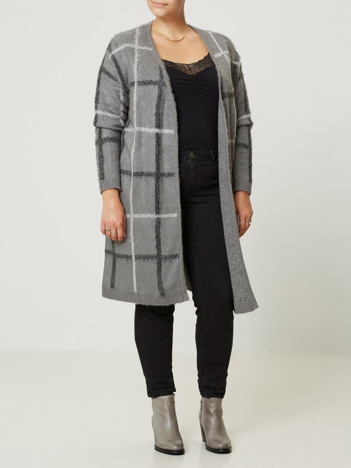 GEBREIDE COATIGAN, Grey, large