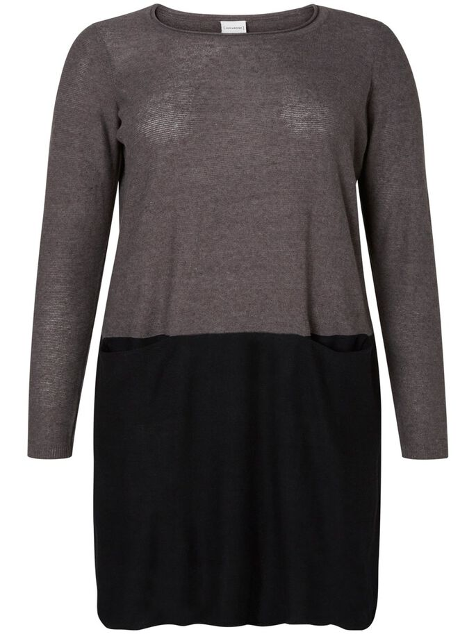 KNITTED DRESS, Medium Grey Melange, large