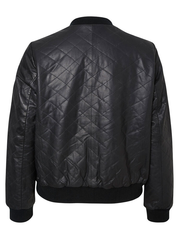 LEATHER BOMBER JACKET, Black, large