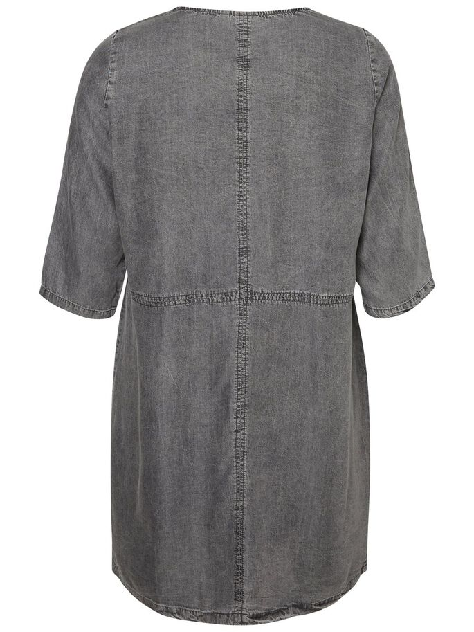 3/4 SLEEVED DRESS, Grey, large