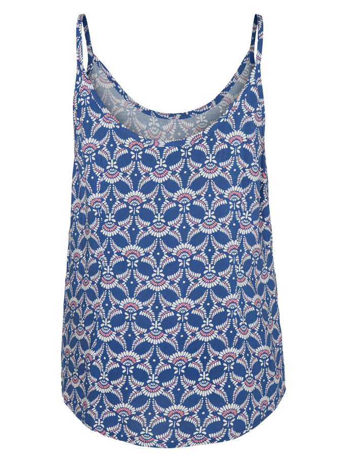PRINTED TOP UDEN ÆRMER, True Navy, large