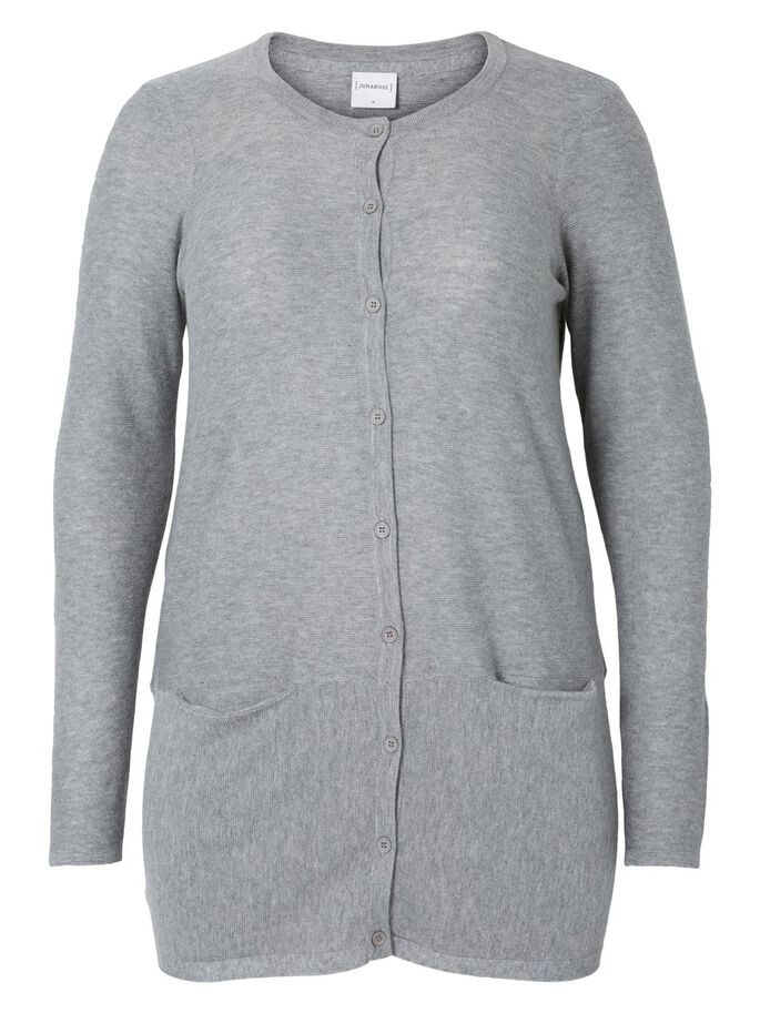 MANCHES LONGUES CARDIGAN, Medium Grey Melange, large