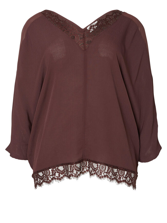 LACE DETAILED 3/4 SLEEVED BLOUSE, Fudge, large