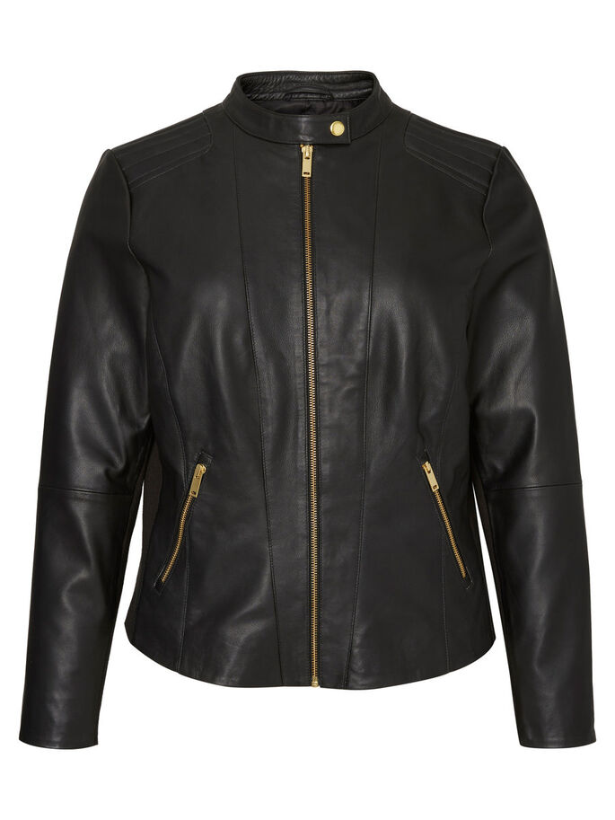 LEATHER JACKET, Black, large