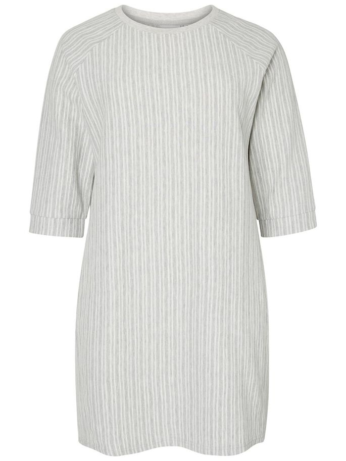 3/4 SLEEVED DRESS, Light Grey Melange, large
