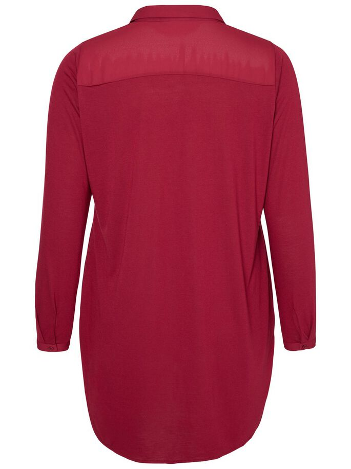 LONG SLEEVED TUNIC, Beet Red, large