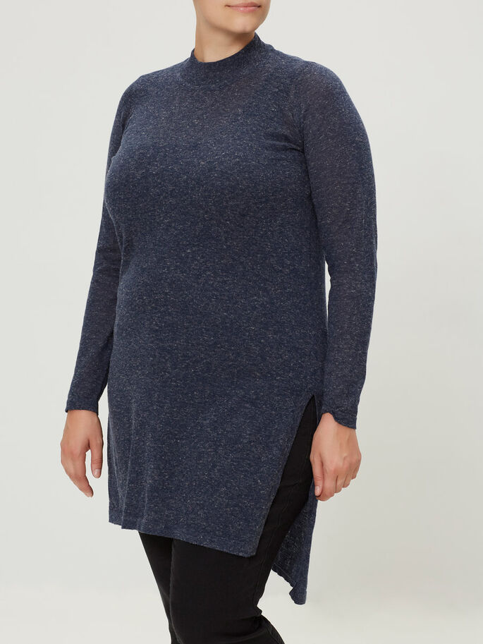 STRIKKET PULLOVER, Black Iris, large