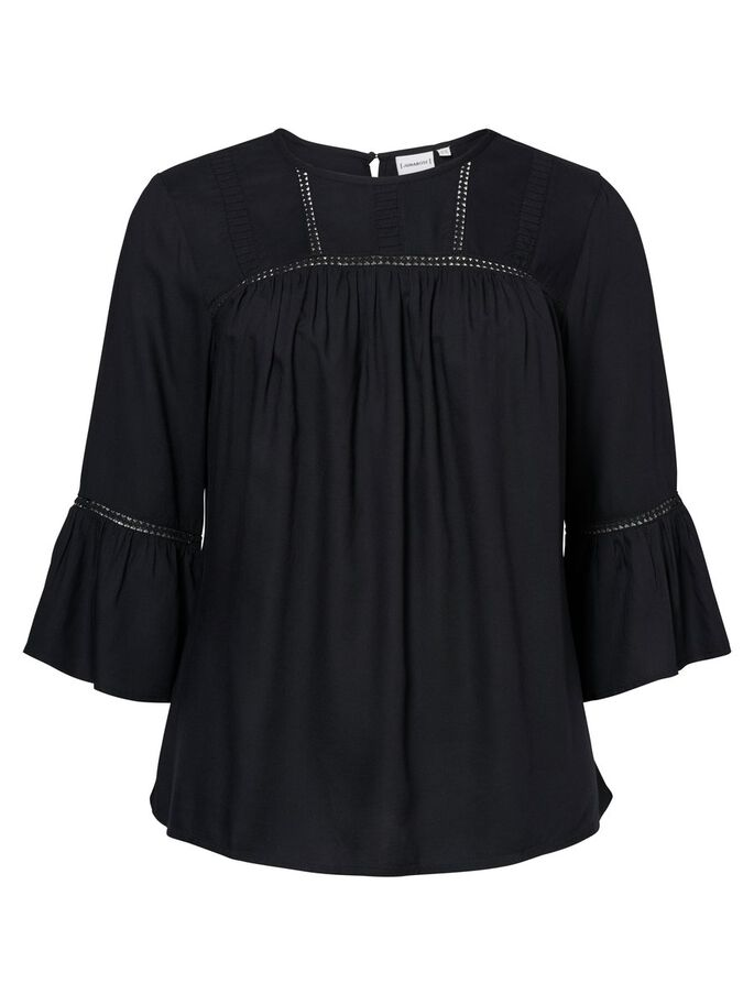 FEMININ BLUSE MED 3/4 ERMER, Black Beauty, large