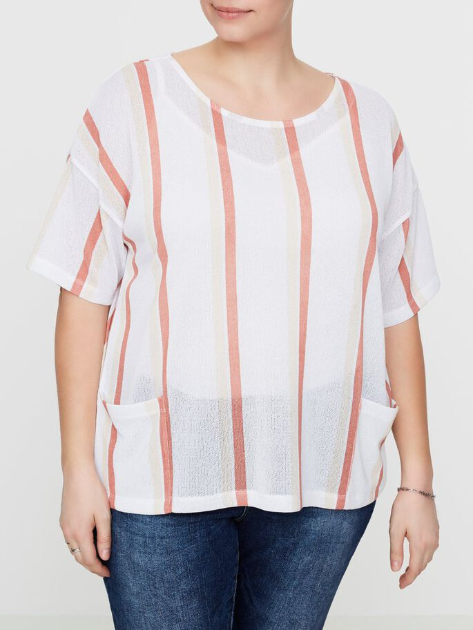 STRIPED 2/4 SLEEVED BLOUSE, Snow White, large