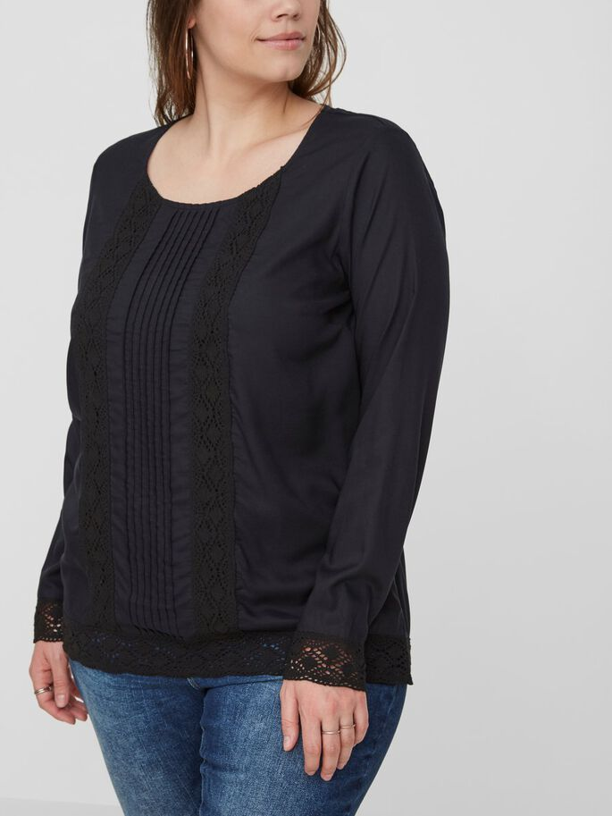 DETAILED LONG SLEEVED BLOUSE, Black Beauty, large