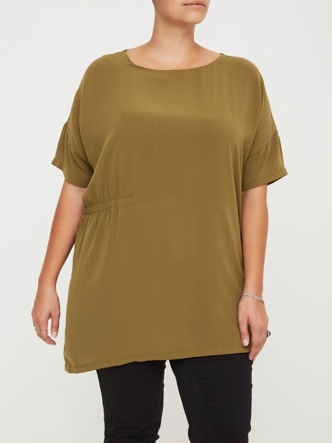 2/4 SLEEVED TUNIC, Fir Green, large