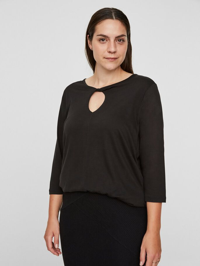 DETAILED 3/4 SLEEVED TOP, Black Beauty, large